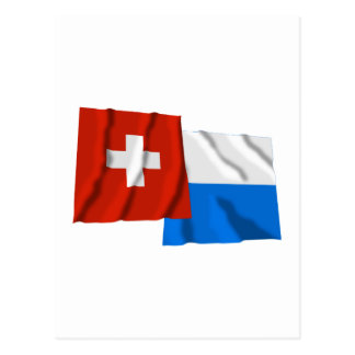 Switzerland & Lucerne Waving Flags Post Cards