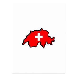 SWITZERLAND MAP FLAG POST CARD