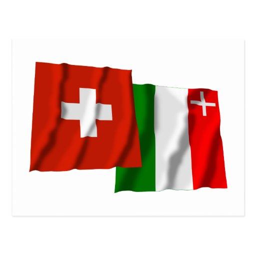 Switzerland & Neuchatel Waving Flags Postcard