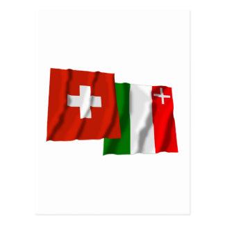 Switzerland & Neuchatel Waving Flags Post Cards