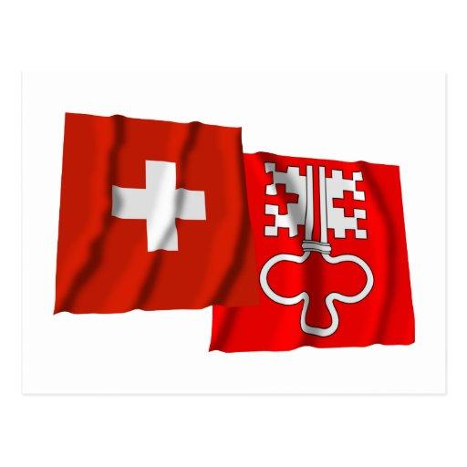 Switzerland & Nidwalden Waving Flags Post Card