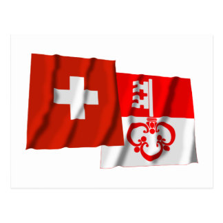 Switzerland & Obwalden Waving Flags Postcards