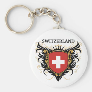 Switzerland [personalize] basic round button keychain