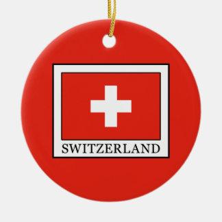 Switzerland Round Ceramic Ornament