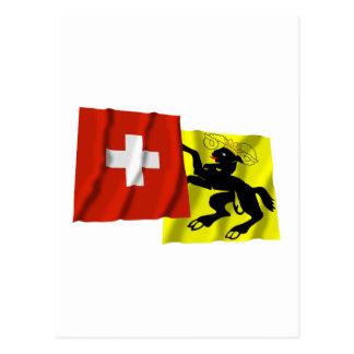 Switzerland & Schaffhausen Waving Flags Postcards