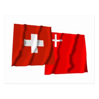 Switzerland & Schwyz Waving Flags Post Card