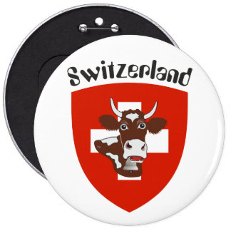 Switzerland Suisse Svizzera Svizra Switzerland 6 Inch Round Button