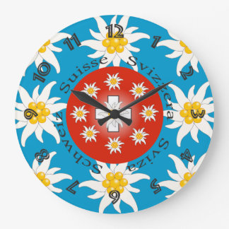 Switzerland Suisse Svizzera Svizra Switzerland Large Clock