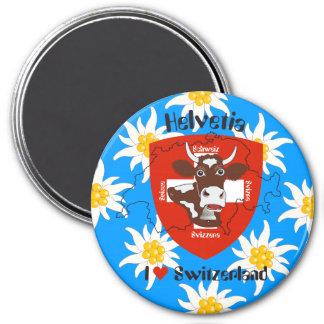 Switzerland Suisse Svizzera Svizra Switzerland mag 3 Inch Round Magnet
