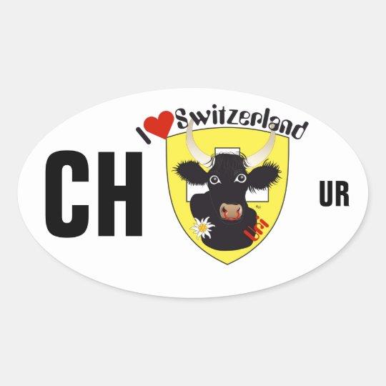 Switzerland Suisse Svizzera Svizra Switzerland Oval Sticker