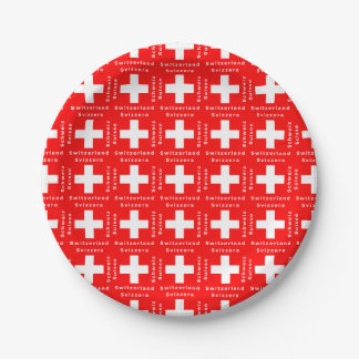 Switzerland Swiss Flag Red and White Paper Plate