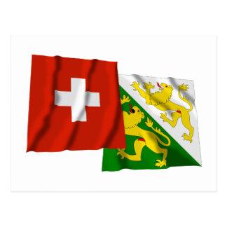 Switzerland & Thurgau Waving Flags Post Card
