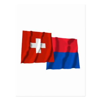 Switzerland & Ticino Waving Flags Postcard