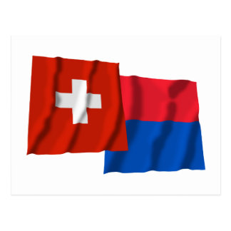 Switzerland Ticino Waving Flags Post Cards