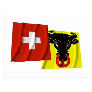 Switzerland Uri Waving Flags Post Card