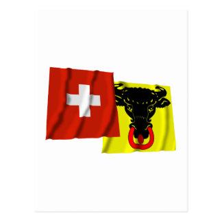 Switzerland & Uri Waving Flags Post Card