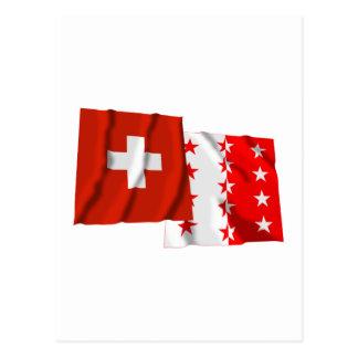 Switzerland & Valais Waving Flags Postcards