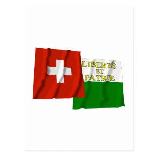 Switzerland & Vaud Waving Flags Postcards