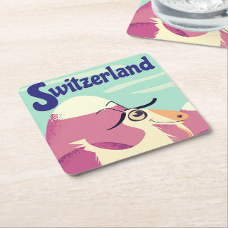 Switzerland Vintage style travel poster Square Paper Coaster