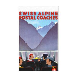 Switzerland Vintage Travel Poster Restored Canvas Print