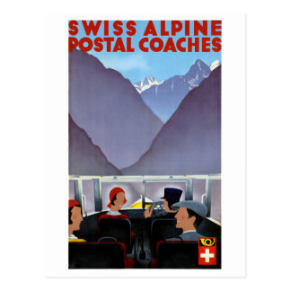 Switzerland Vintage Travel Poster Restored Postcard