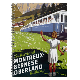 Switzerland Vintage Travel Poster Restored Spiral Notebook