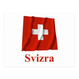 Switzerland Waving Flag with Name in Raeto-Romance Postcard