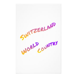 Switzerland world country, colorful text art personalized stationery