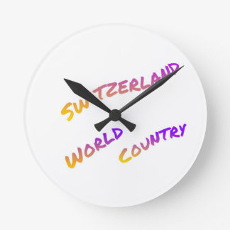 Switzerland world country, colorful text art round clock