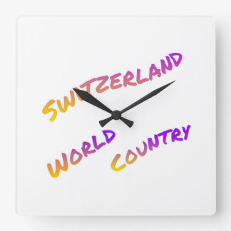 Switzerland world country, colorful text art square wall clock