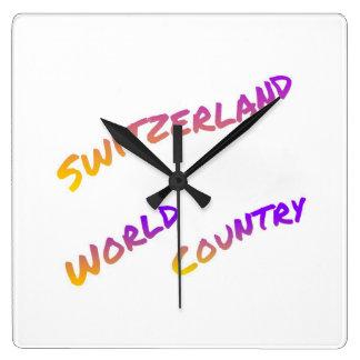 Switzerland world country, colorful text art wallclock