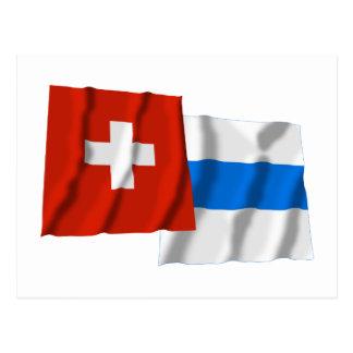 Switzerland Zug Waving Flags Post Card