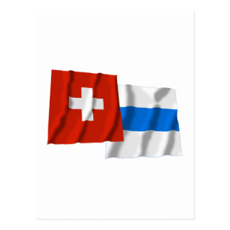 Switzerland & Zug Waving Flags Postcards