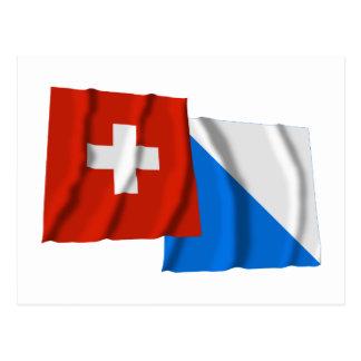 Switzerland & Zurich Waving Flags Post Cards