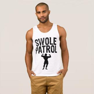 Swole Patrol Black on White men's tank top