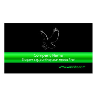 Swooping Black Eagle on black, green chrome-look Business Card