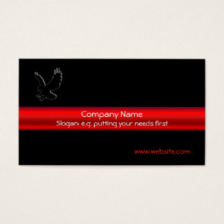 Swooping Black Eagle on black, red chrome-look Business Card