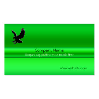Swooping Black Eagle on green metallic-look effect Business Card