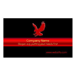 Swooping Red Eagle on black, red chrome-look strip Business Card