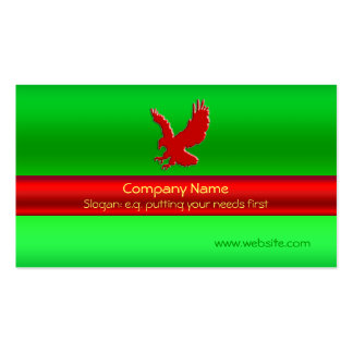 Swooping Red Eagle on green metallic-look effect Business Card