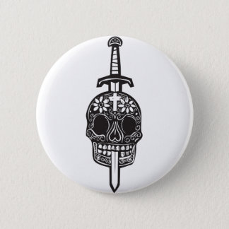 Sword and Day of Dead Skull 2 Inch Round Button