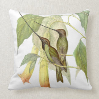 Sword-billed Hummingbird Birds Flower Throw Pillow