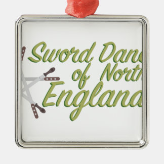 Sword Dancers Silver-Colored Square Ornament