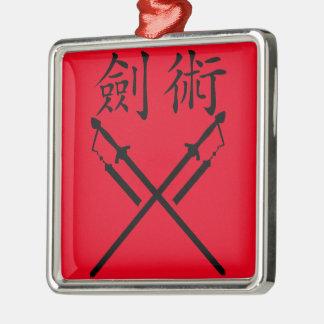 Sword Fighter Silver-Colored Square Ornament