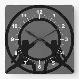 Sword Fighting Square Wall Clock