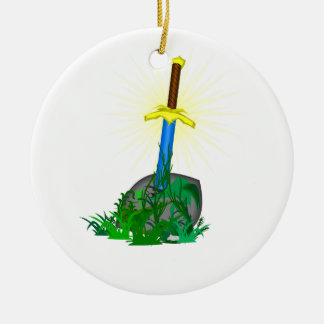 Sword in Stone Ceramic Ornament