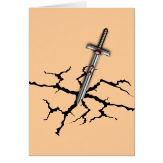 SWORD IN THE CRACKED GROUND GREETING CARD
