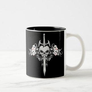 Sword Skull - BLK Two-Tone Coffee Mug