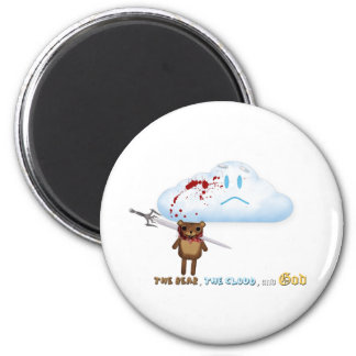 Sword through bear's head and cloud 2 inch round magnet