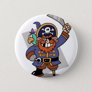 Sword-Waving Pirate 2 Inch Round Button